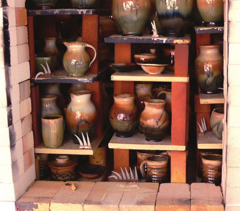 finished pottery in the wood-fired kiln